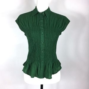 "Anthropologie ""Maeve"" Short Sleeve Green Shirt"